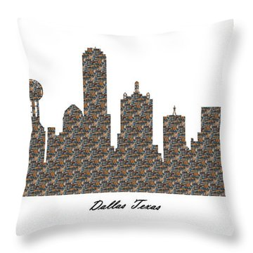 Dallas Texas 3d Stone Wall Skyline Throw Pillow
