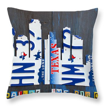 Dallas Texas Skyline License Plate Art By Design Turnpike Throw Pillow by Design Turnpike