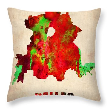 Dallas Watercolor Map Throw Pillow by Naxart Studio