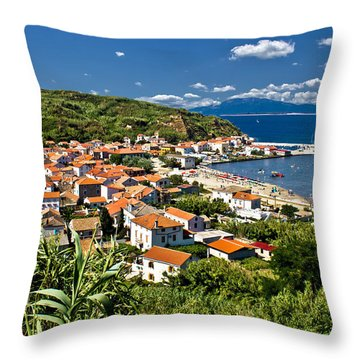 Dalmatian Island Of Susak Village And Harbor Throw Pillow by Brch Photography