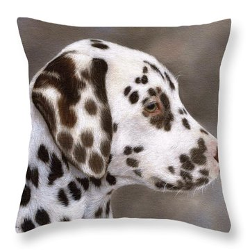 Dalmatian Puppy Painting Throw Pillow by Rachel Stribbling
