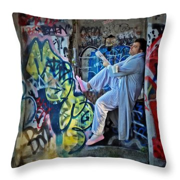 Dalyn At The Graffiti Underground Throw Pillow