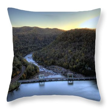 Throw Pillow featuring the photograph Dam Across The River by Jonny D