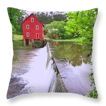 Dam At Starrs Mill Throw Pillow