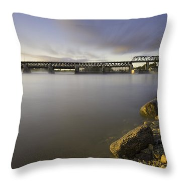 Dam At Sunrise Throw Pillow