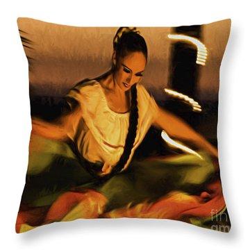 Dama Original Bailarina Mexicana  ... Throw Pillow by Chuck Caramella