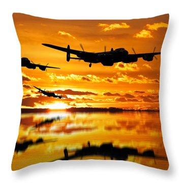Dambusters Avro Lancaster Bombers Throw Pillow by Ken Brannen