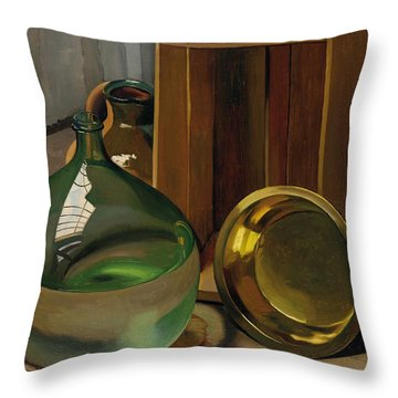 Dame-jeanne And Caisse Throw Pillow by Felix Edouard Vallotton