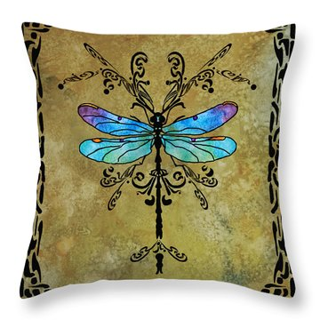 Damselfly Nouveau Throw Pillow