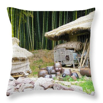 Damyang Bamboo Forests Throw Pillow by Lanjee Chee