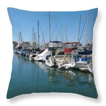 Dana Point Harbor Throw Pillow by Connie Fox