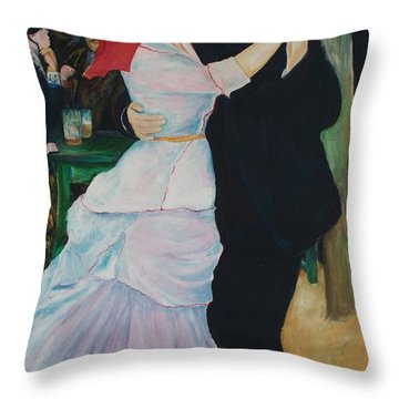 Throw Pillow featuring the painting Dance At Bougival Renoir by Eric  Schiabor