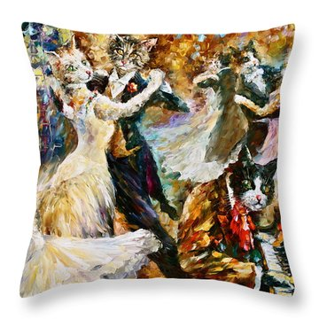 Dance Ball Of Cats  Throw Pillow by Leonid Afremov