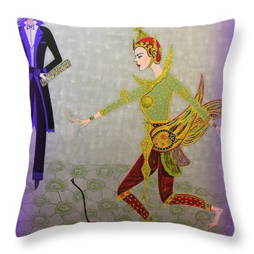 Throw Pillow featuring the painting Dance Of A Nymph by Marie Schwarzer