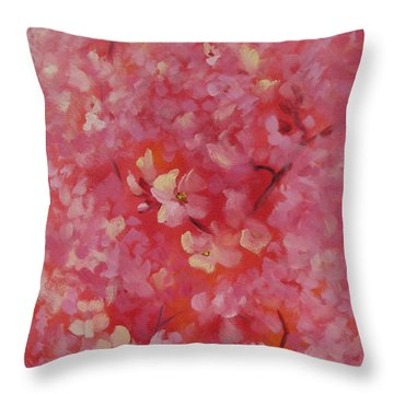Dance Of The Cherry Blossoms Throw Pillow by Karin  Leonard