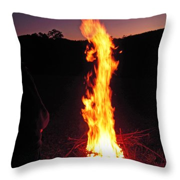 Woman In The Fire Throw Pillow