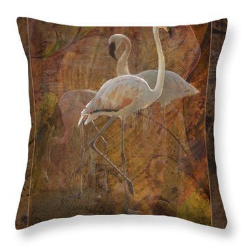 Dance Of The Flamingos Throw Pillow