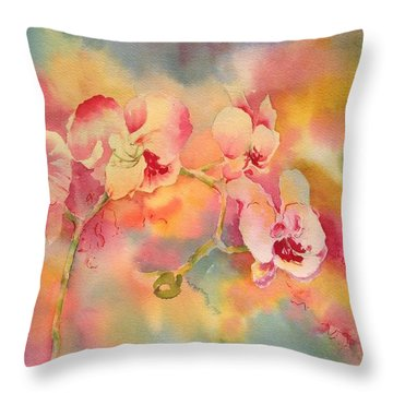 Dance Of The Orchids Throw Pillow by Tara Moorman