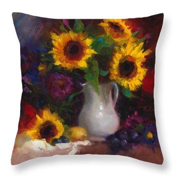 Dance With Me - Sunflower Still Life Throw Pillow