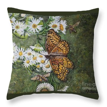 Throw Pillow featuring the painting Dance With The Daisies by Kimberlee Baxter