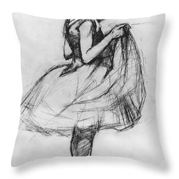 Dancer Adjusting Her Costume And Hitching Up Her Skirt Throw Pillow by Henri de Toulouse-Lautrec
