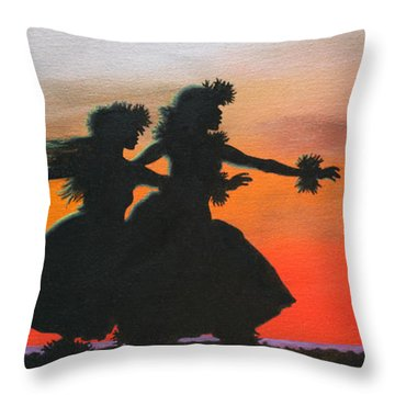 Dancers At Sunset Throw Pillow by Wahine Art