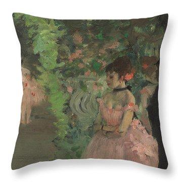 Dancers Backstage Throw Pillow by Edgar Degas