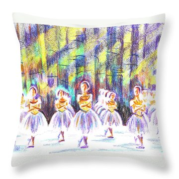 Dancers In The Forest Throw Pillow