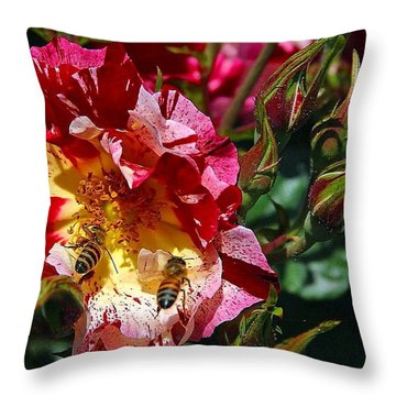 Throw Pillow featuring the photograph Dancing Bees And Wild Roses by Absinthe Art By Michelle LeAnn Scott
