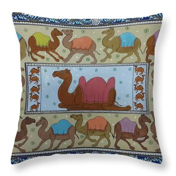 Dancing Camels Throw Pillow