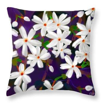 Throw Pillow featuring the digital art Dancing Coral Jasmines by Latha Gokuldas Panicker