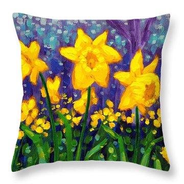 Dancing Daffodils    Cropped Throw Pillow by John  Nolan