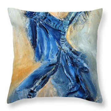 Dancing Denim Throw Pillow
