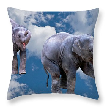 Dancing Elephants Throw Pillow by Jean Noren