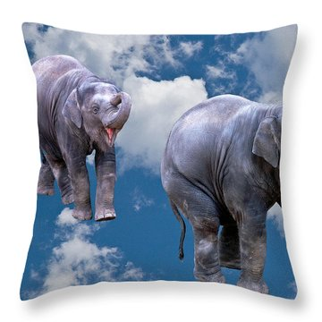Dancing Elephants Throw Pillow