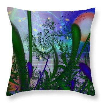 Dancing Fireflies Throw Pillow by Faye Symons