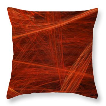 Dancing Flames 1 H - Panorama - Abstract - Fractal Art Throw Pillow by Andee Design