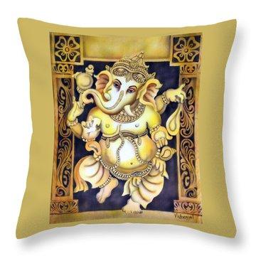 Dancing Ganesh Throw Pillow by Vishwajyoti Mohrhoff