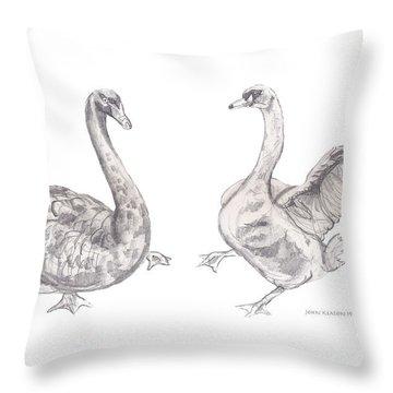 Dancing Geese Throw Pillow by John Keaton