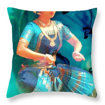 Dancing Girl With Gold Necklace Throw Pillow