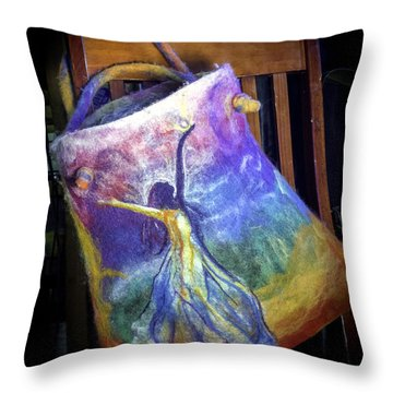 Throw Pillow featuring the mixed media Dancing Goddess Needle Felted Bag by Shelley Bain