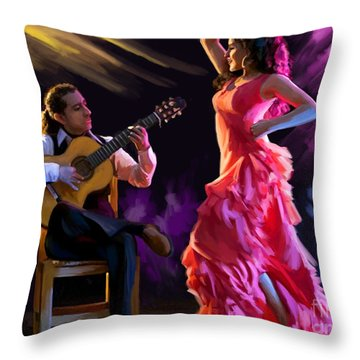 Dancing Gypsy Woman Throw Pillow