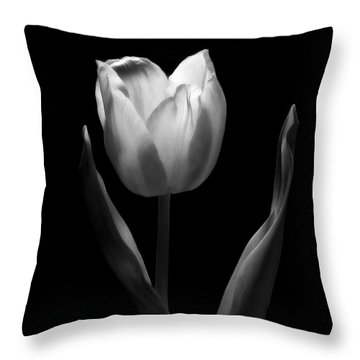 Abstract Black And White Tulips Flowers Art Work Photography Throw Pillow