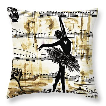 Throw Pillow featuring the painting Dancing In The Rain by AmaS Art
