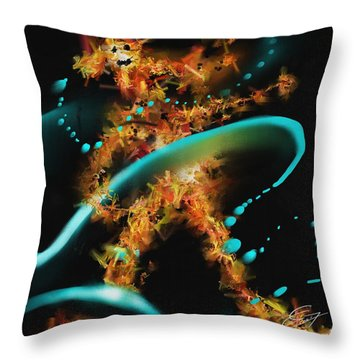 Throw Pillow featuring the painting Dancing In The Rain by S G