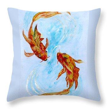 Dancing Koi Sold Throw Pillow