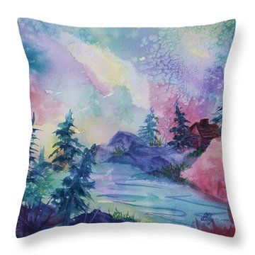 Dancing Lights II Throw Pillow