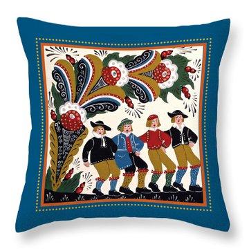 Dancing Men I Throw Pillow by Leif Sodergren