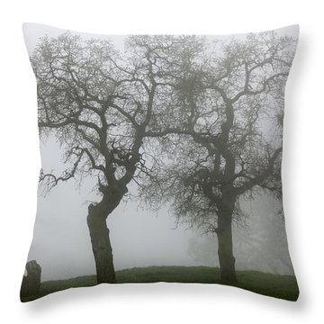 Throw Pillow featuring the photograph Dancing Oaks In Fog - Central California by Ram Vasudev
