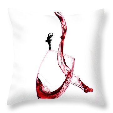 Dancing On A Glass Cup With Splashing Wine Little People On Food Throw Pillow by Paul Ge